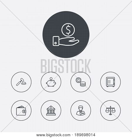 Set Of 9 Budget Outline Icons Set.Collection Of Safe, Auction, Bank And Other Elements.