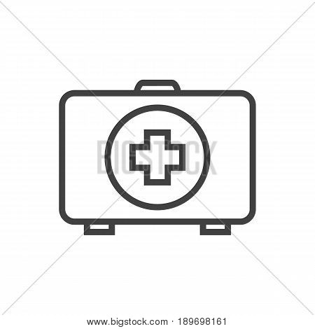 Isolted First Aid Box Outline Symbol On Clean Background. Vector Medical Kit Element In Trendy Style.
