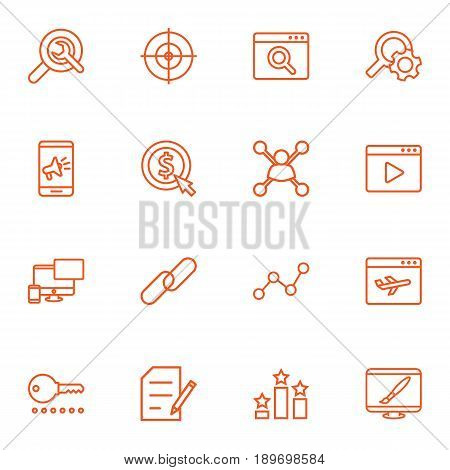 Set Of 16 Search Outline Icons Set.Collection Of Style, SEO Test, Running Title And Other Elements.