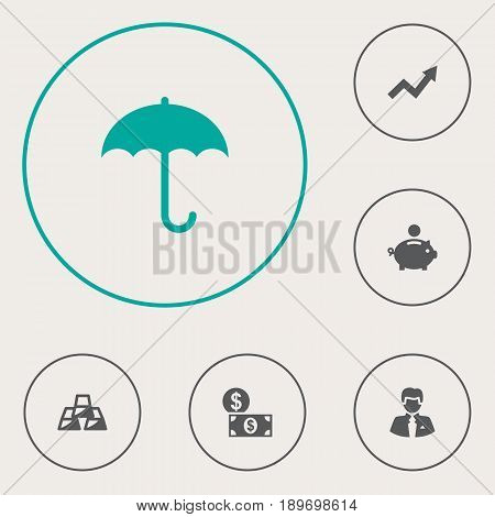 Set Of 6 Finance Icons Set.Collection Of Worker, Piggy Bank, Umbrella And Other Elements.
