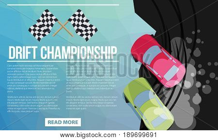 Top view of a drifting cars in flat style vector