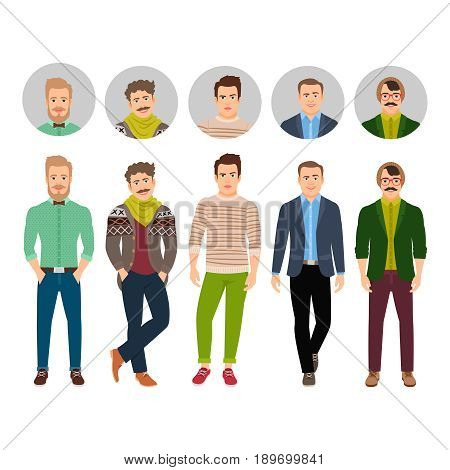 Vector confident fashion man in casual clothes isolated on white background with face avatar icons set