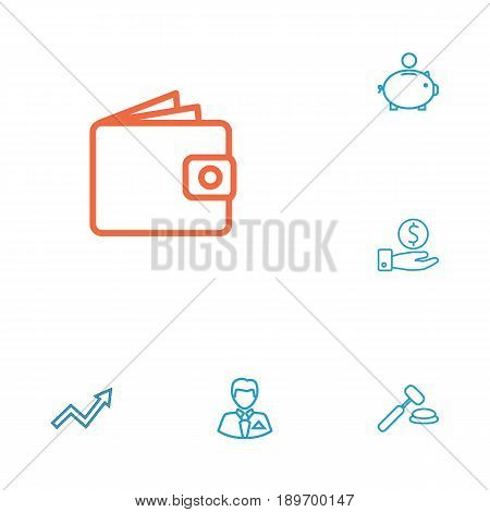 Set Of 6 Finance Outline Icons Set.Collection Of Businessman, Auction, Money Box And Other Elements.