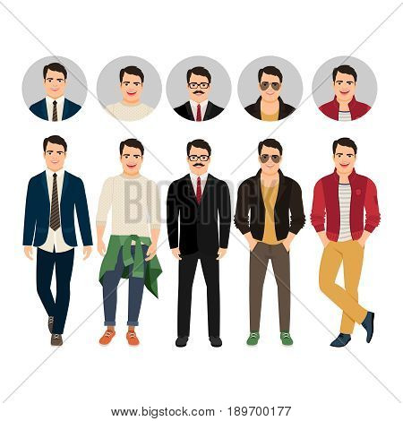 Handsome guy in casual and business style clothes with face avatar icons vector set