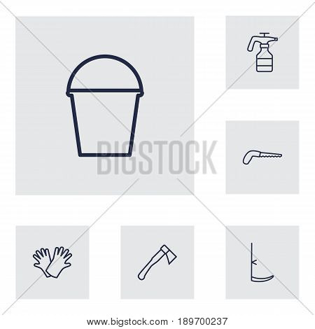Set Of 6 Horticulture Outline Icons Set.Collection Of Arm-Cutter, Hatchet, Safer Of Hand Elements.