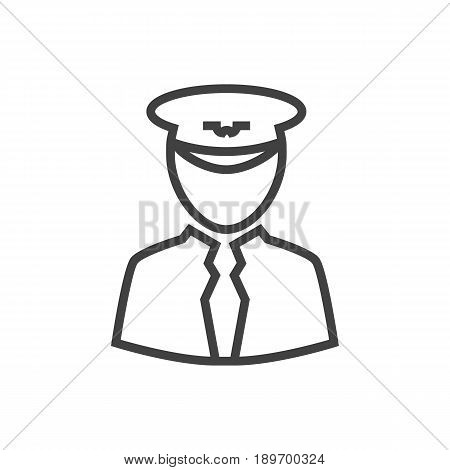 Isolted Aviator Outline Symbol On Clean Background. Vector Pilot Element In Trendy Style.