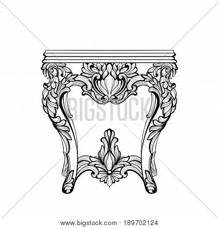 Imperial Baroque Console Table. French Luxury carved ornaments decorated table furniture. Vector Victorian Royal