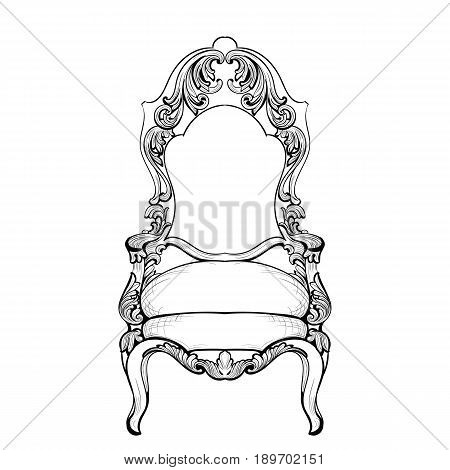 Imperial Baroque chair with luxurious ornaments. Vector French Luxury rich intricate structure. Victorian Royal Style