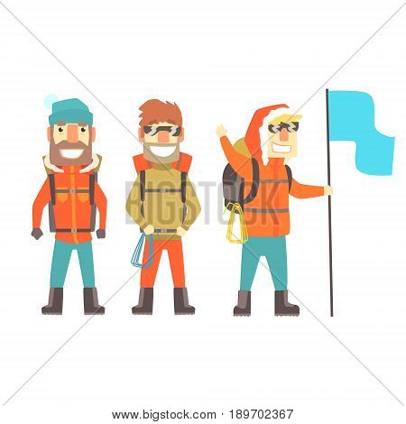 Three mountain climbers with mountain climbing equipment, colorful characters vector Illustration isolated on a white background