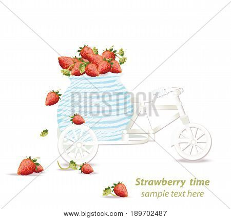 Vector mixed cherry and berry decoration bycicle. Design for tea, natural cosmetics, beauty store, dessert menu, organic health care products, perfume, aromatherapy