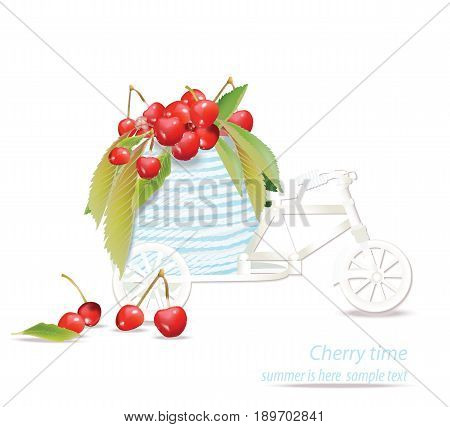Vector mixed cherry and berry decoration bycicle. Design for tea, natural cosmetics, beauty store, dessert menu, organic health care products, perfume, aromatherapy. Place for text
