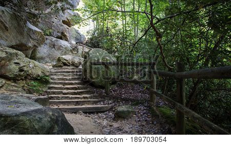 Kentucky Hiking Trail. Hiking trail through the rocky terrain of eastern Kentucky's Natural Bridge State Park. The park features many arches and the rugged terrain of Kentucky's Appalachian Mountains