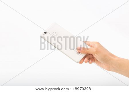 Female Hands On A White Background With A Phone.