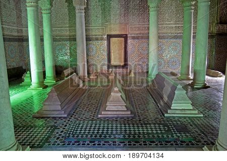 MARRAKECH, MOROCCO - APRIL 3, 2016: The interior of the Saadian tombs in Marrakech
