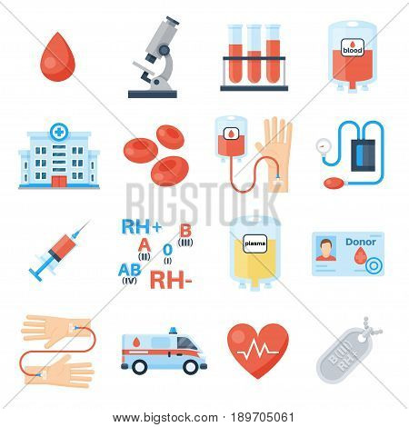 Blood donor icon set, products for transfusions, plasma or platelet donation campaign, volunteer program. Vector flat style illustration isolated on white background