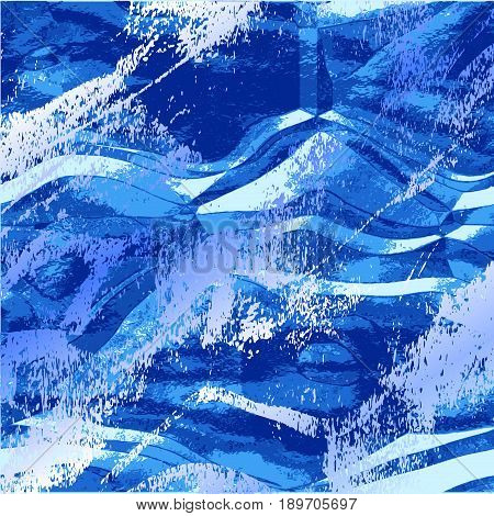 Abstract wavy grunge background resembling water surface. Rippling blue and white pattern with splashes of water