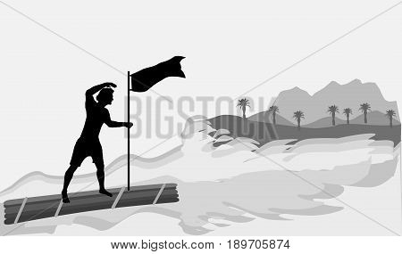 Man on a wooden raft approaching the island. Black silhouette of a boy with flag and gray island with mountains and palm trees