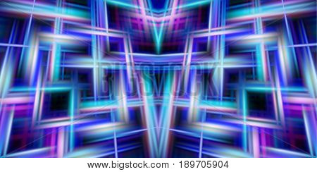 Abstract glowing background of intersecting lines. Blue, purple, pink and white pattern of laser beams