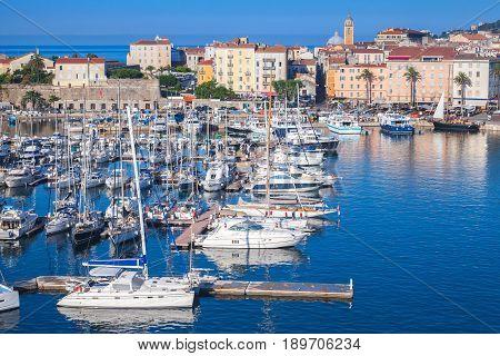 Ajaccio Port. Coastal Cityscape