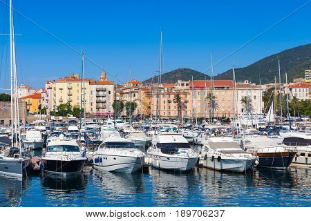 Pleasure Yachts Moored In Marina Of Ajaccio