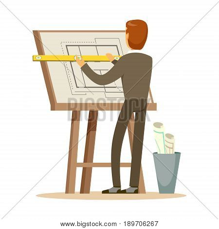 Architect working on his project on a drawing board, colorful character vector Illustration isolated on a white background