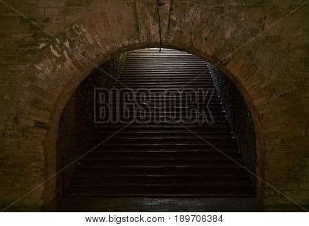 Arched passage with stairs in the fortress. Fragment of the fortification of the nineteenth century The Kiev Fortress