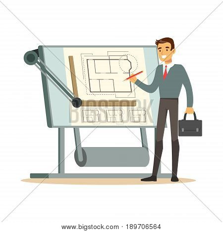 Young architect working on his project on a drawing board, colorful character vector Illustration isolated on a white background