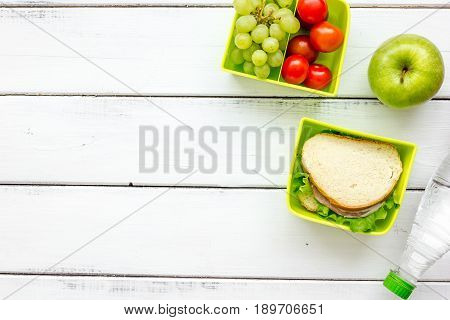 Take Away With Lunchbox And Fresh Food On White Background Top View Space For Text