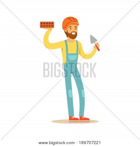 Smiling bricklayer wearing orange safety helmet and work clothes standing and holding brick and trowel in his hands, colorful character vector Illustration isolated on a white background