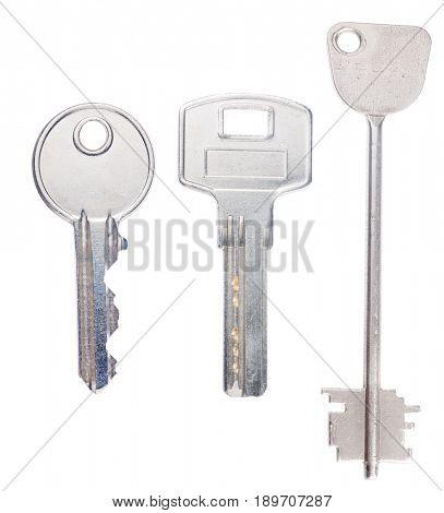 steel keys isolated on white background