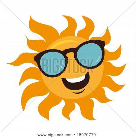 Character Sun in sunglasses and happy smile. Sun and glasses isolated on white. Vector stock.