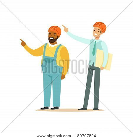 Foreman and architect discussing the building project, colorful characters vector Illustration isolated on a white background