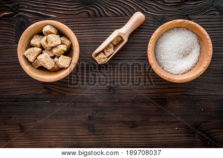 Lumps Of Sugar With Bowls Sweet Set On Wooden Table Background Top View Mockup