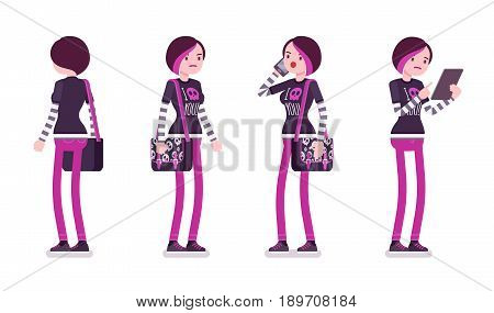 Emo girl, true subculture look, skinny trousers, striped longsleeve, dyed bright orchid hair, standing pose with phone and tablet. Vector flat style cartoon illustration, isolated, white background