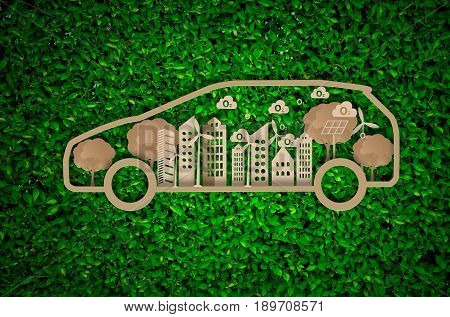 design creative paper craft with green energy sustainable on blurred background.concept eco conservation energy.