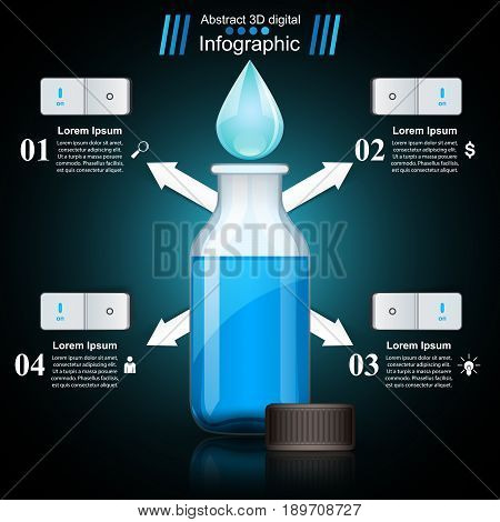 Business Infographics origami style Vector illustration. Bottle, water, drink icon. Marketing icon