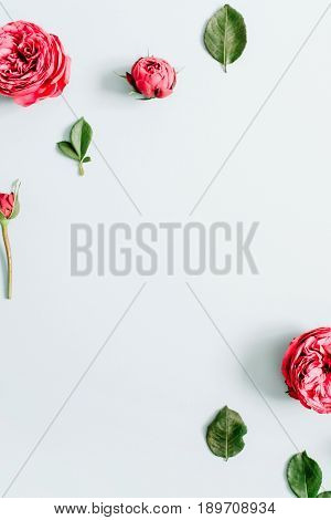 Flowers border frame made of red roses on pale pastel blue background. Flat lay top view. Floral texture background.
