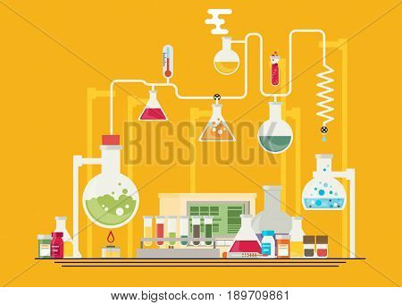 Medical laboratory infographics isolated on color background
