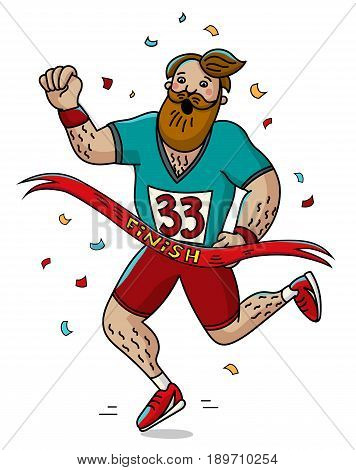 Man runner cross the finish line. Cartoon style. Marathon. Vector illustration.