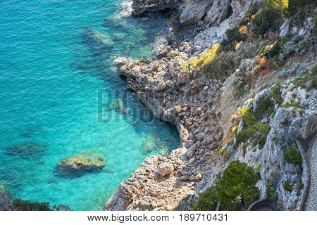 amazing landscape with the Via Krupp, historic switchback paved footpath on the island of Capri near Marina Piccola, Italy
