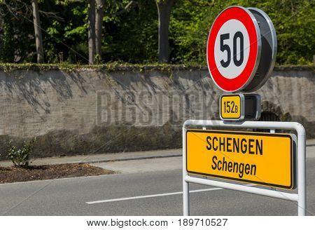 Sign in Schengen Luxembourg - travel background