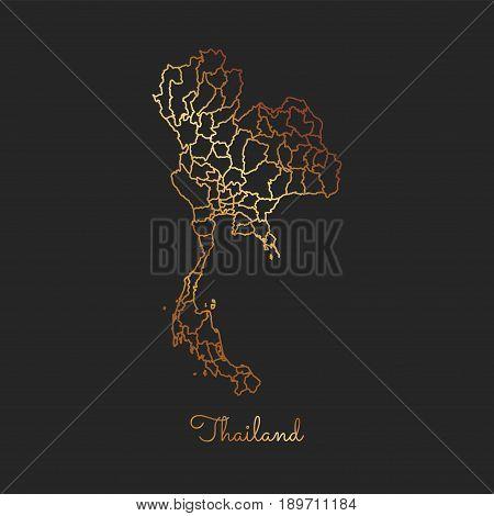 Thailand Region Map: Golden Gradient Outline On Dark Background. Detailed Map Of Thailand Regions. V