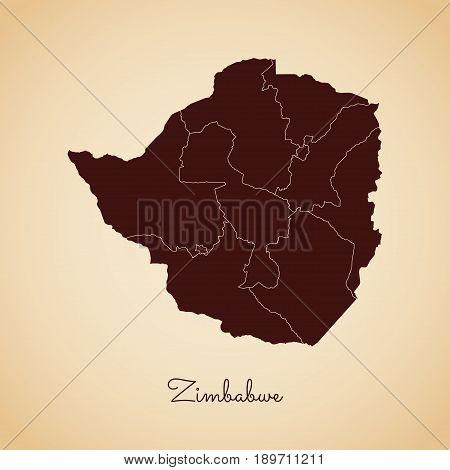 Zimbabwe Region Map: Retro Style Brown Outline On Old Paper Background. Detailed Map Of Zimbabwe Reg