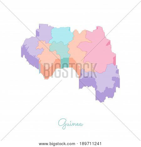 Guinea Region Map: Colorful Isometric Top View. Detailed Map Of Guinea Regions. Vector Illustration.