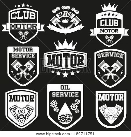 Set of Vintage Motor Club or car service Signs and Label. Shields with stars and pistons. Emblem of drivers and riders. Editable Vector illustration Isolated on background.