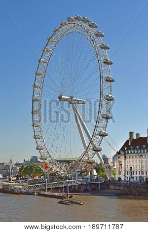 LONDON, ENGLAND - May 24,2017: London eye, biggest ferris wheel in Europe at 443 ft tall, London, UK