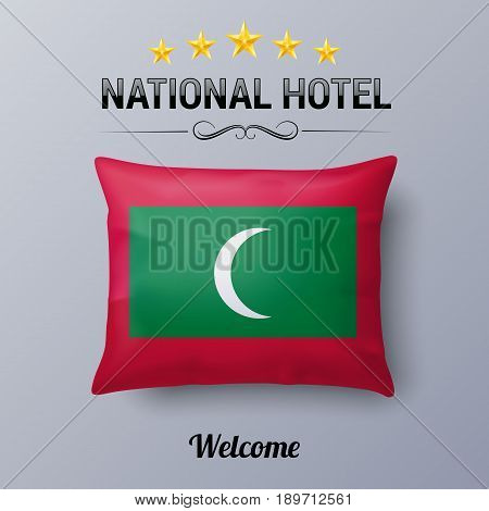 Realistic Pillow and Flag of Maldives as Symbol National Hotel. Flag Pillow Cover with Maldivian flag