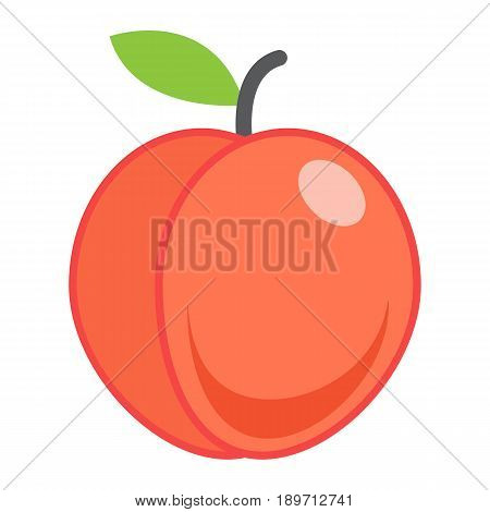 Peach flat icon, fruit and diet, vector graphics, a colorful solid pattern on a white background, eps 10.