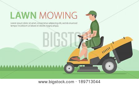 Man mowing the lawn with yellow Tractor LawnMower