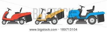 set of tractor lawnmower. vector illustration flat design